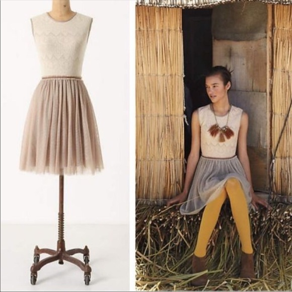 Anthropologie Dresses & Skirts - Anthropologie | Weston Wear Tulle Taupe Lace Dress